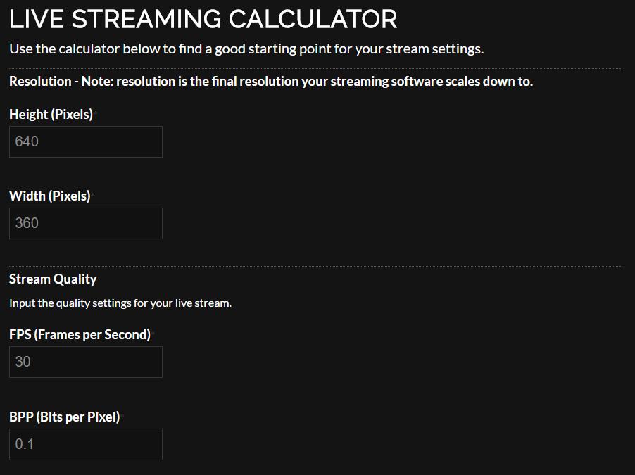 calculadora tasa de bits obs