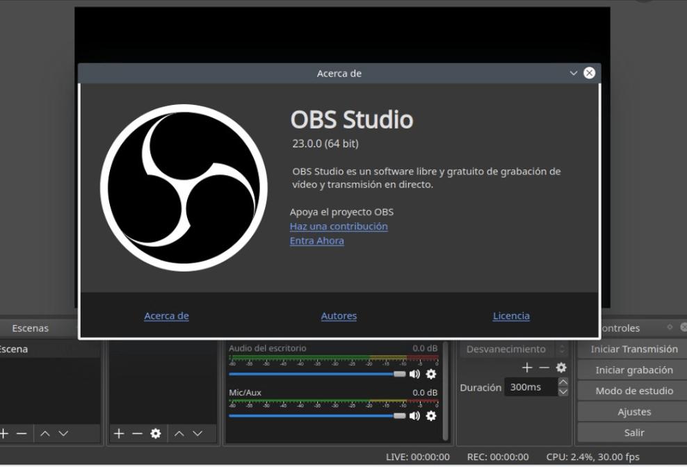 ajustes y versión de obs studio